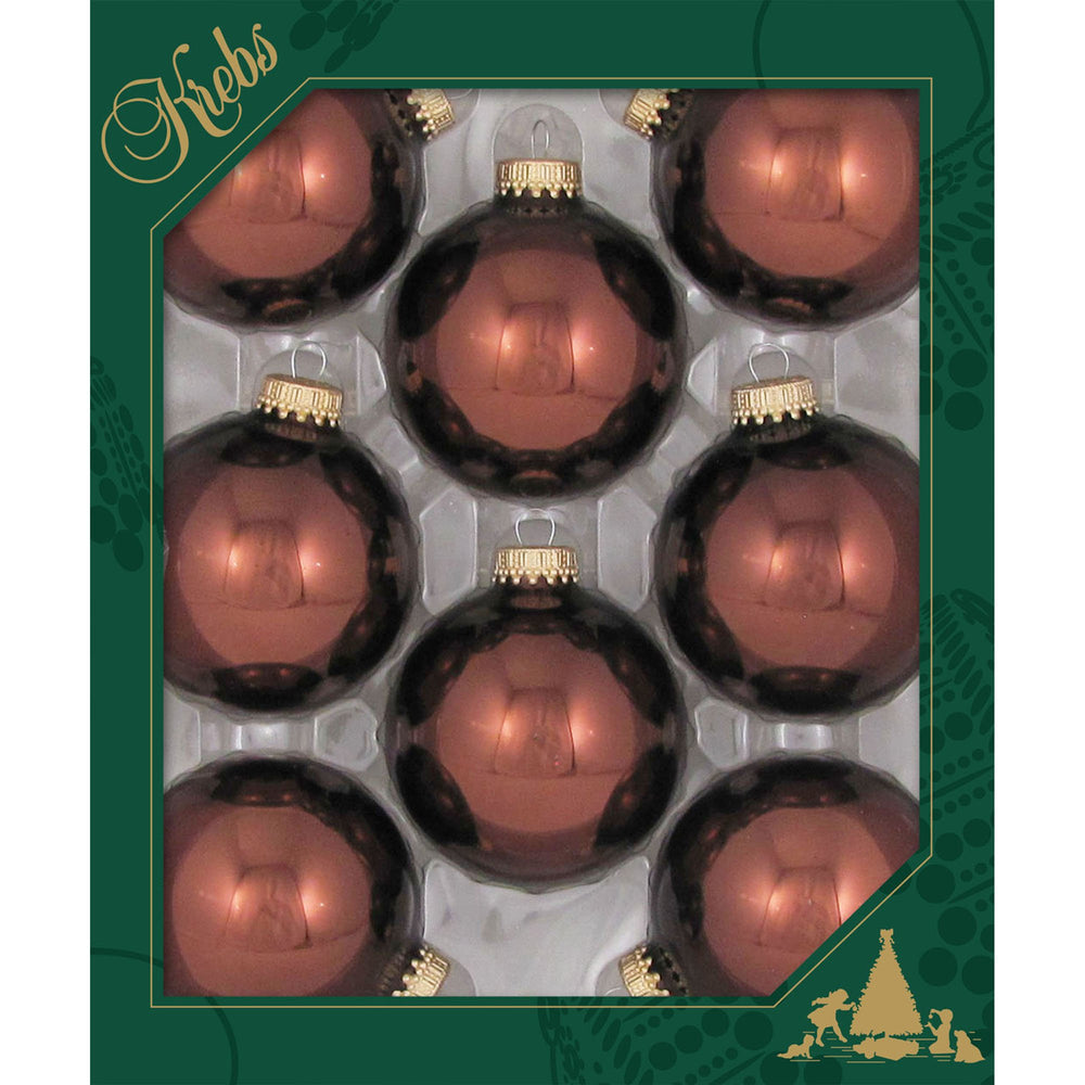 8 Friar Brown Glass ornaments in a green box