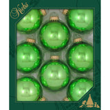 8 Jade Lime Shine Glass ornaments in a green box