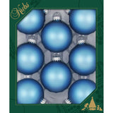 8 Alpine velvet blue Glass ornaments in a green box