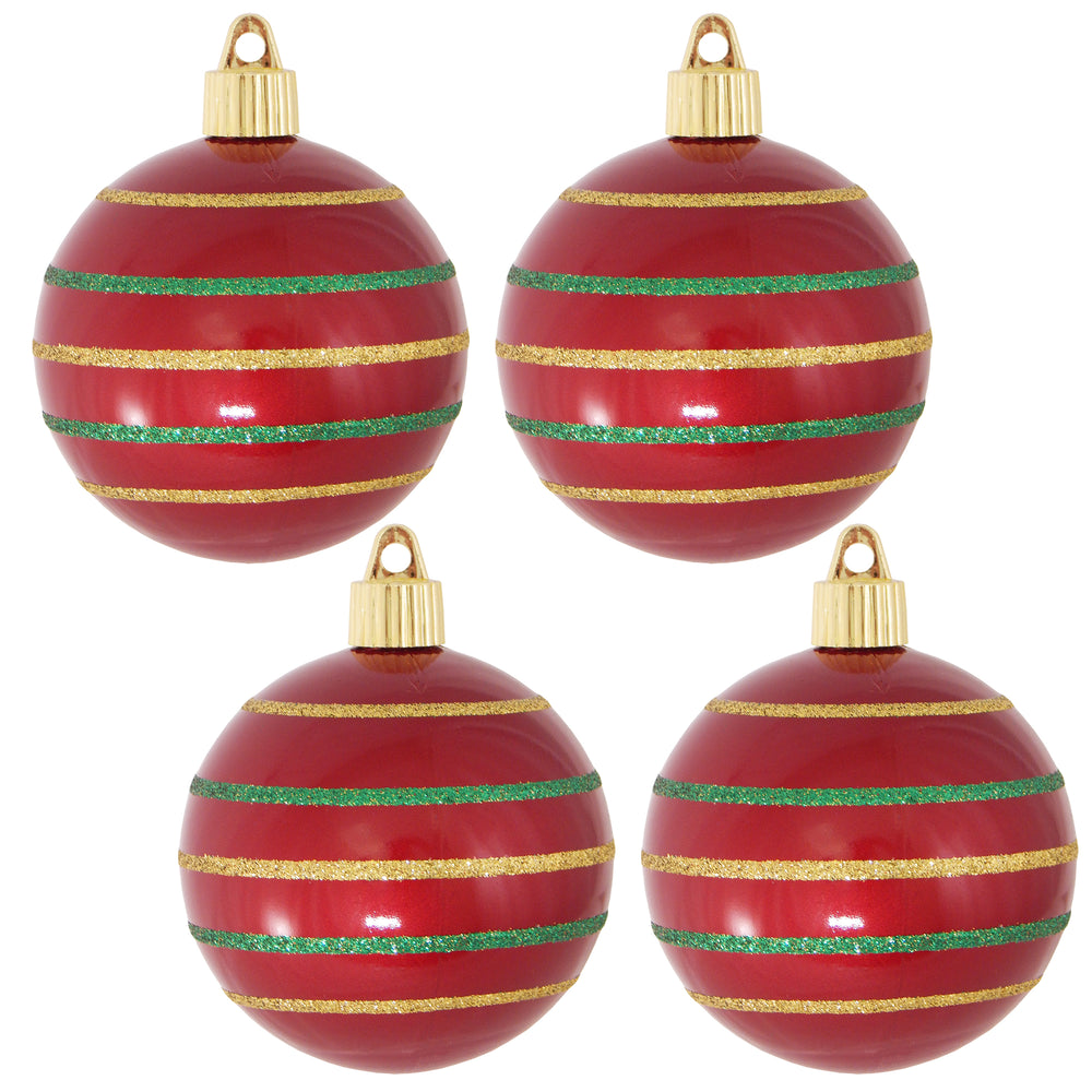 "[4 Pack] 3 1/4"" (80mm) Decorated Shatterproof Ball Ornaments"