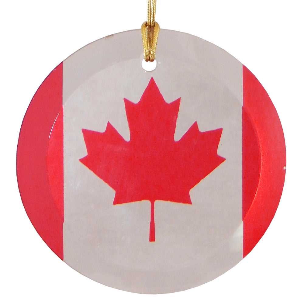 "3.5"" Round Glass Suncatcher with Canadian Flag"