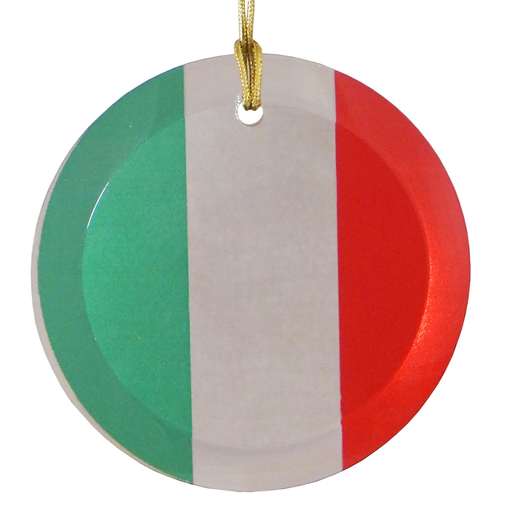 "3.5"" Round Glass Suncatcher with Italian Flag"