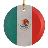 "3.5"" Round Glass Suncatcher with Mexican Flag"