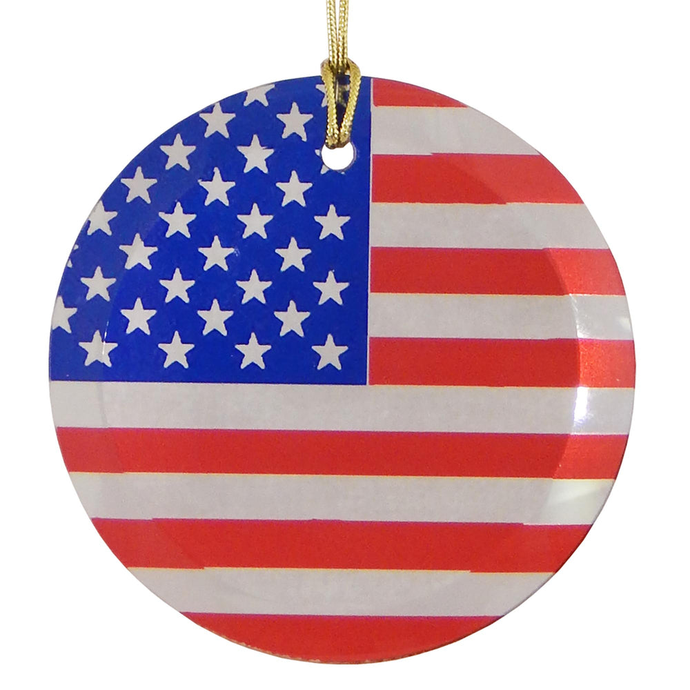 "3.5"" Round Glass Suncatcher with American Flag"