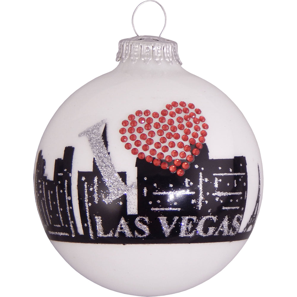 White ball glass ornament with Las Vegas city skyline and rhinestone heart