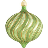 Green Swirled onion large Christmas ornament