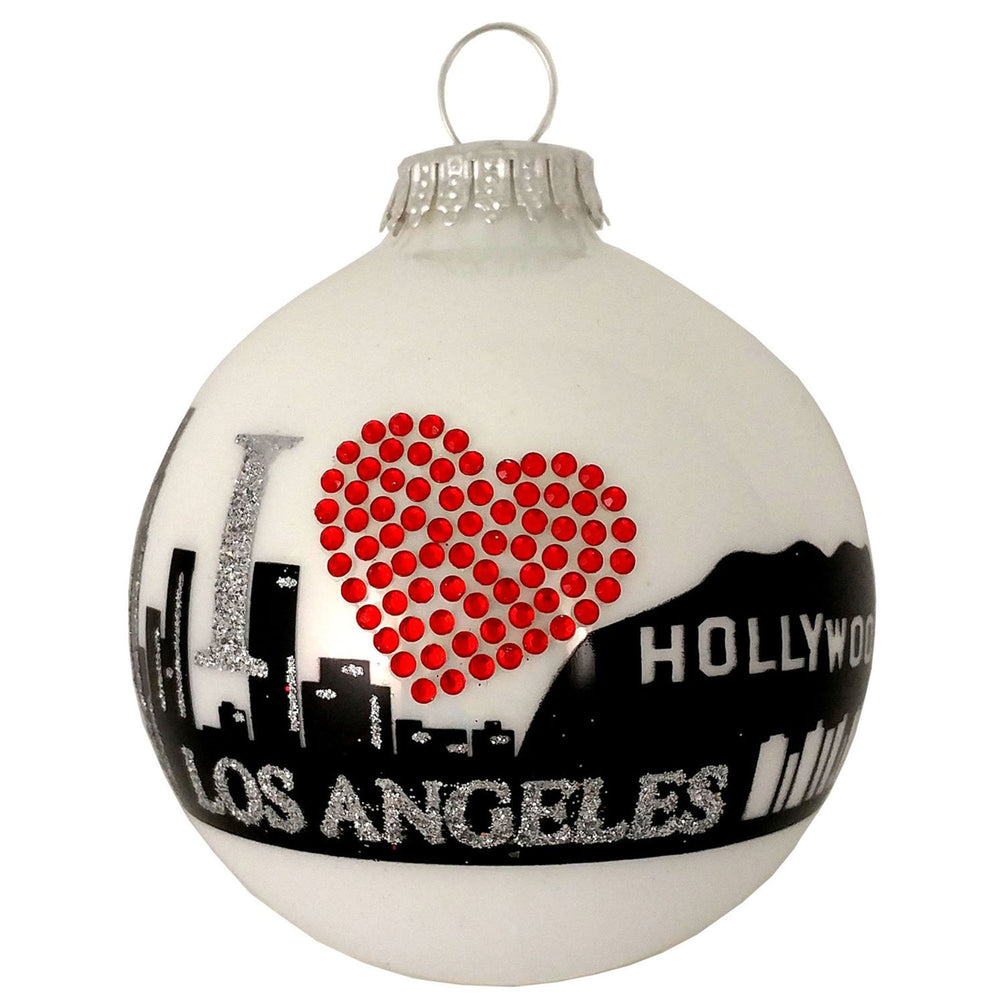 White ball glass ornament with Los Angeles city skyline and rhinestone heart