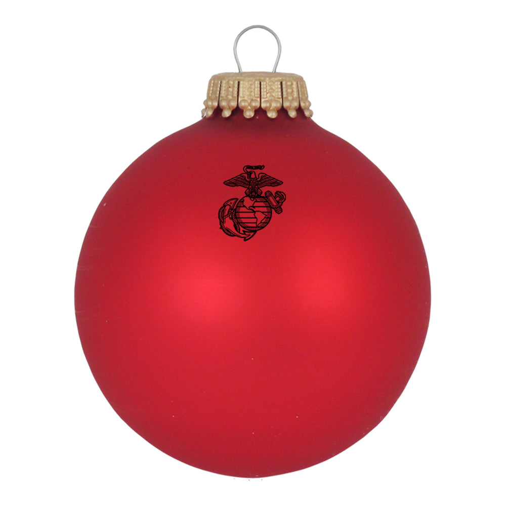 Red Glass ornaments with the U.S. Marines