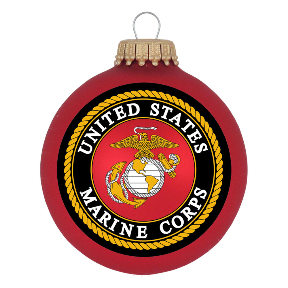 Red Glass ornaments with the U.S. Marines Seal
