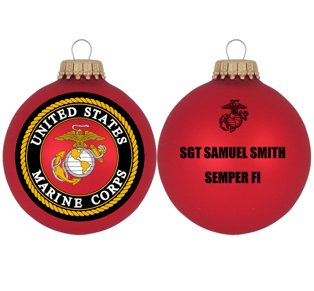 "3 1/4"" Personalized Red Glass Ornaments with U.S. Marines Seal"