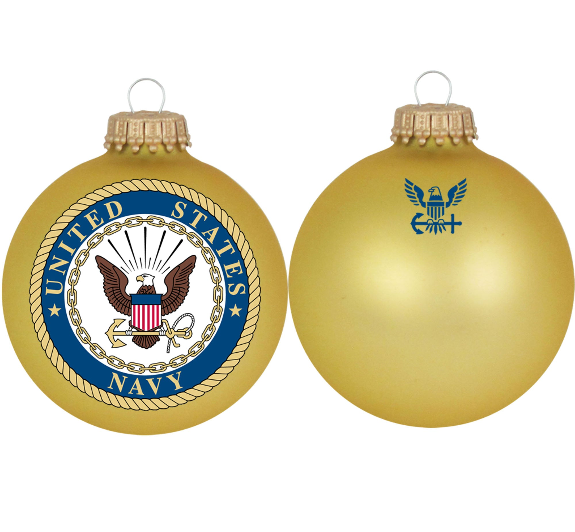 Navy Christmas Ornaments.3 1 4 Personalized Gold Glass Ornaments With U S Navy Seal