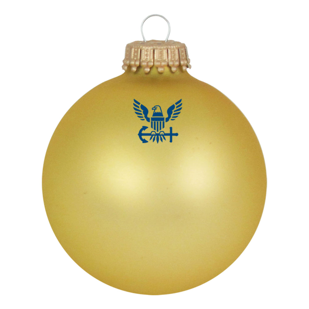 Gold glass ornaments with U.S. Navy