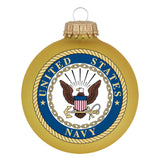Gold glass ornaments with U.S. Navy Seal