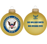 "3 1/4"" Personalized Gold Glass Ornaments with U.S. Navy Seal"