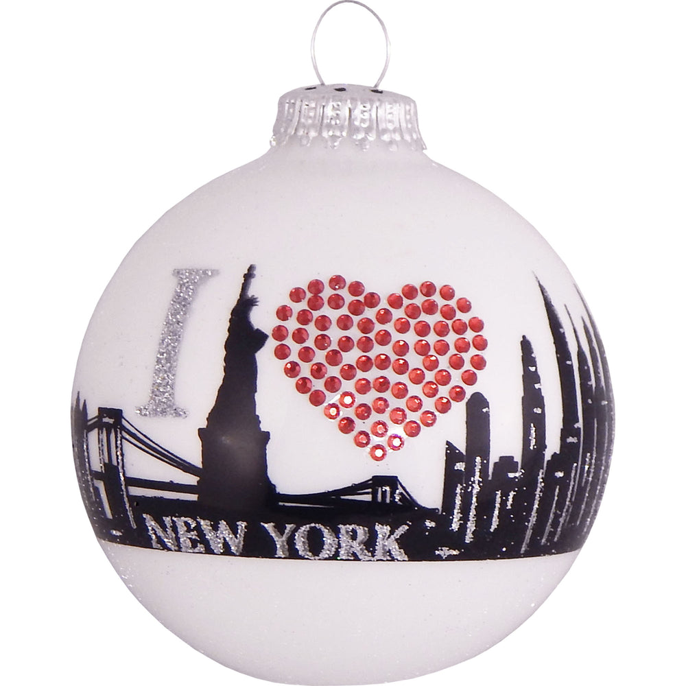 White ball glass ornament with New York skyline and rhinestone heart