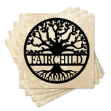 "4"" Personalized Family  Stone Coasters with Split Tree Name, Set of 4"
