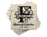"4"" Personalized White Terrazzo Style Stone Coasters with Split Bold Serif Swirl Monogram, Set of 4"