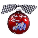 "3 1/4"" Personalized Giftable Glass Ball Ornament with Love You Mom"