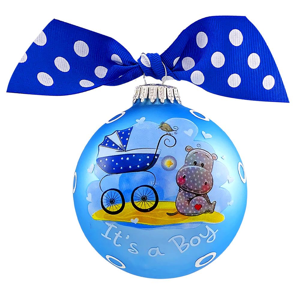 "3 1/4"" Personalized Giftable Glass Ball Ornament with It's a Boy"