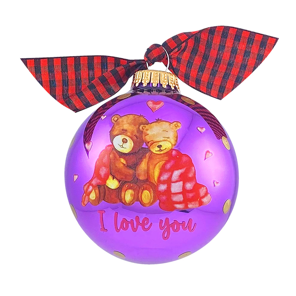 "3 1/4"" Personalized Giftable Glass Ball Ornament Bear Couple under Blanket"