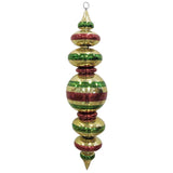 Red Gold and green finial large Christmas ornament
