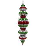Red Silver and green Finial Large Christmas ornament