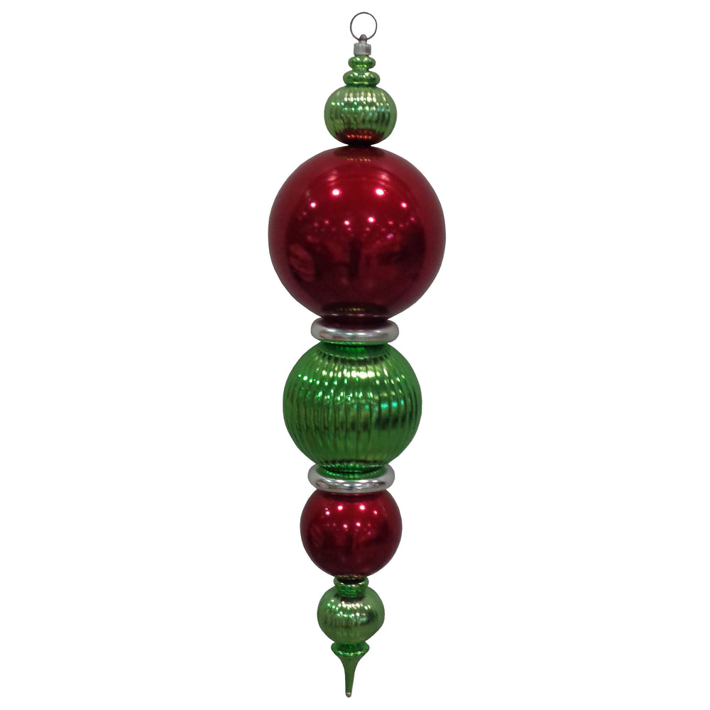 "Red, green and silver 38"" Multipiece Finial Shatterproof Large Christmas Ornament"