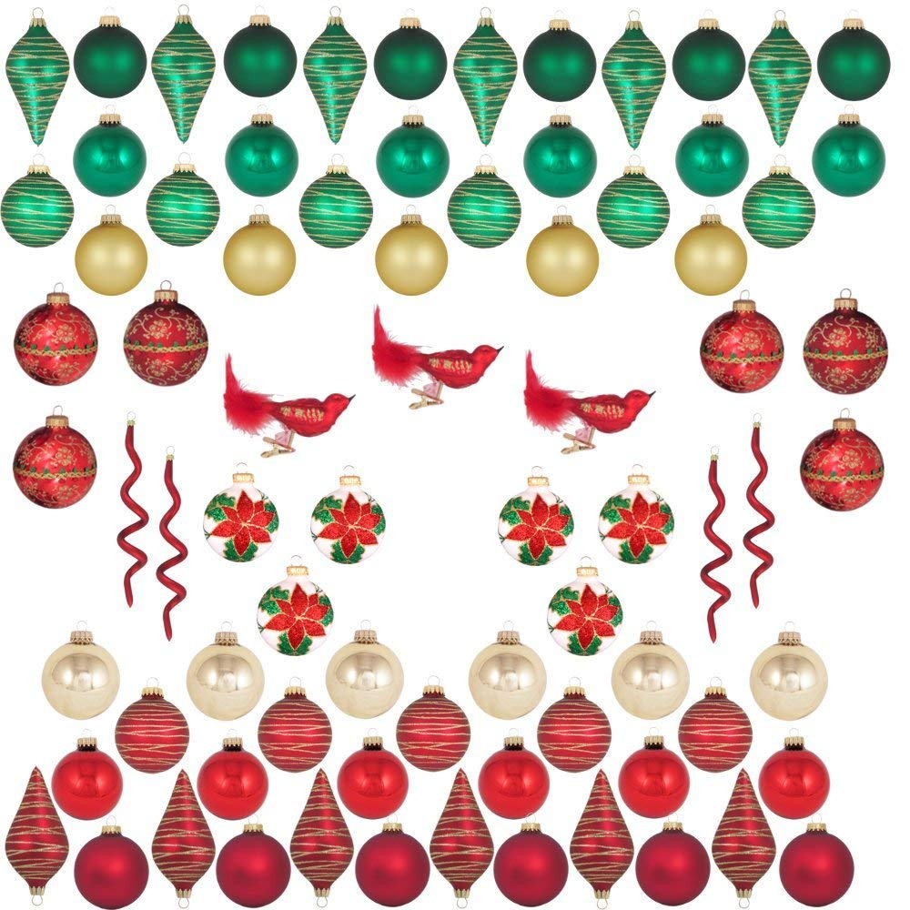Traditional glass ornaments tree decorating kit