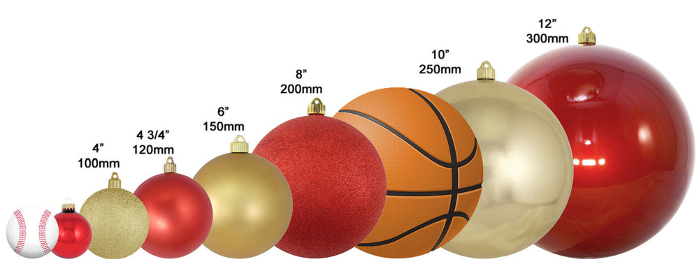 size scale image of Christmas ornaments