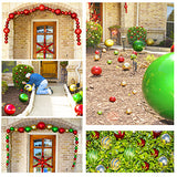 Lifestyle shot of the outside of a house decorated with shatterproof large Christmas ornaments