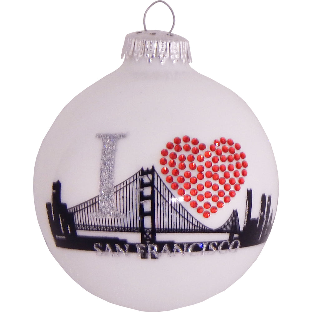 White ball glass ornament with San Francisco skyline and rhinestone heart