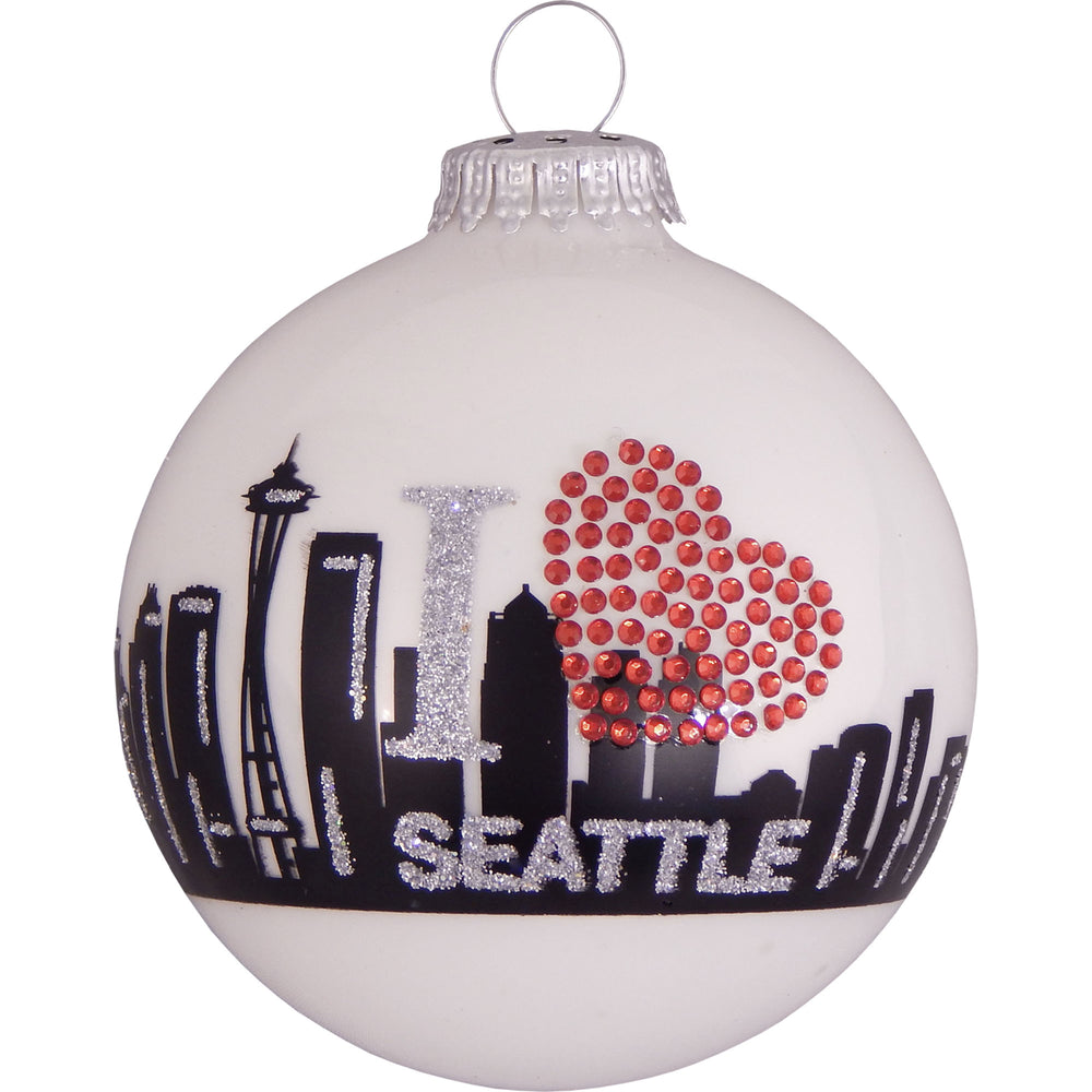 White ball glass ornament with Seattle skyline and rhinestone heart