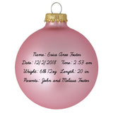 Pink Glass ornament with baby birth information