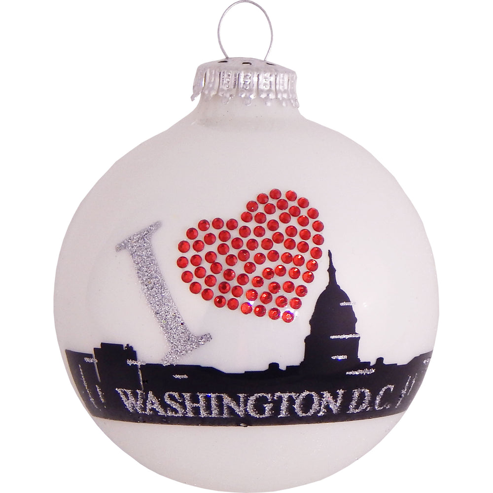 White ball glass ornament with Washington D.C. skyline and rhinestone heart