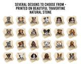 "[Set of 4] 4"" Premium Absorbent Travertine Dog Lovers Square Coaster - Brown & Tan English Bulldog"