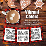 "[Set of 4] 4"" Premium Absorbent Ceramic Square Christmas Holiday Humor Gift Housewarming Coasters - Let's Get Lit"