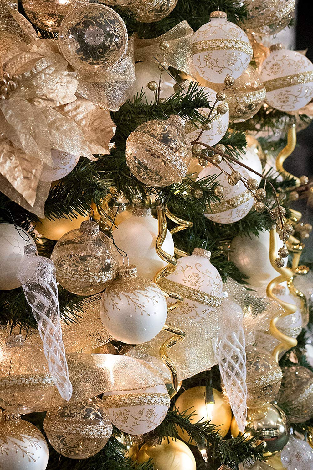Classic Gold Glass Ornament Decorating Trimkits on a tree