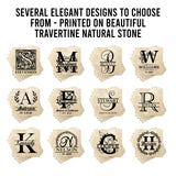 "4"" Personalized  Stone Coasters with Laurel Leaves Around Serif Monogram, Set of 4"