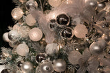 Classic Silver Glass Ornament Decorating Trimkits on tree