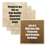 "Set of 4 Absorbent Stone 4"" Flower Designs Drink Coasters, Amazone Rose"