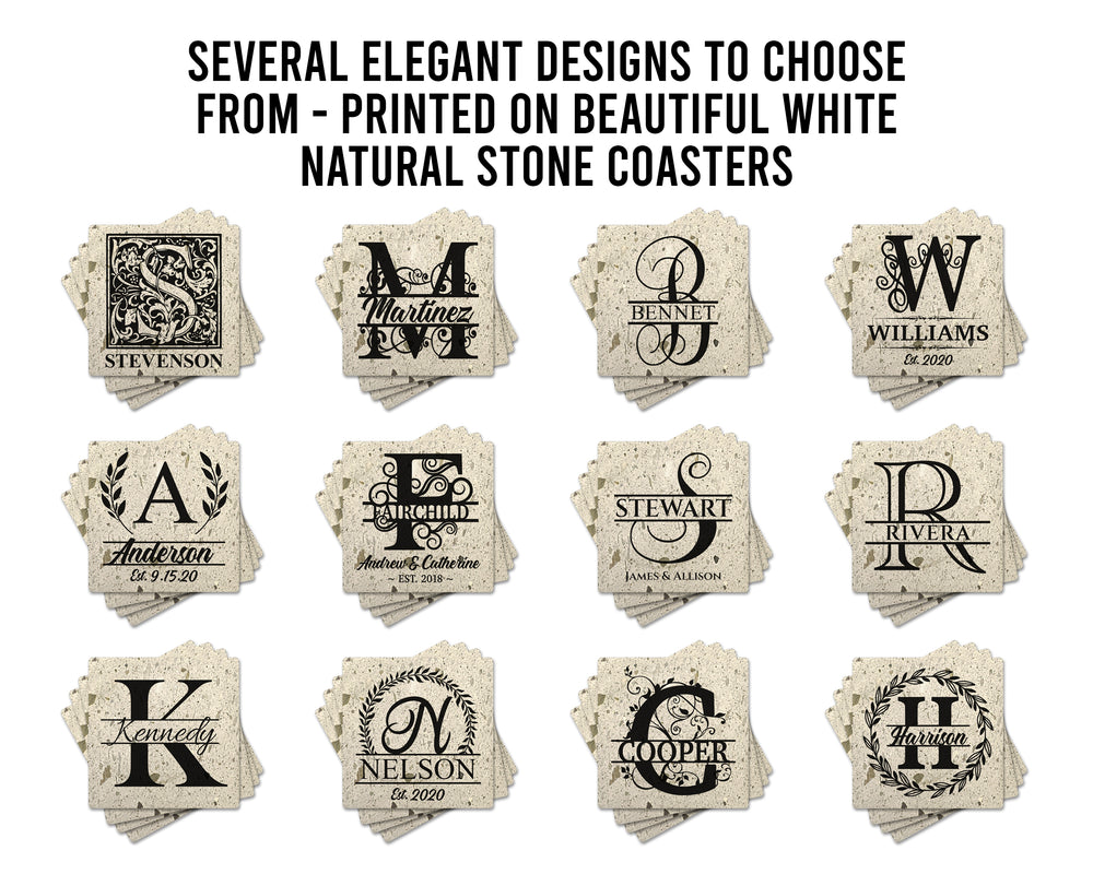 "4"" Personalized White Terrazzo Style Stone Coasters with Wide Split Script Monogram, Set of 4"
