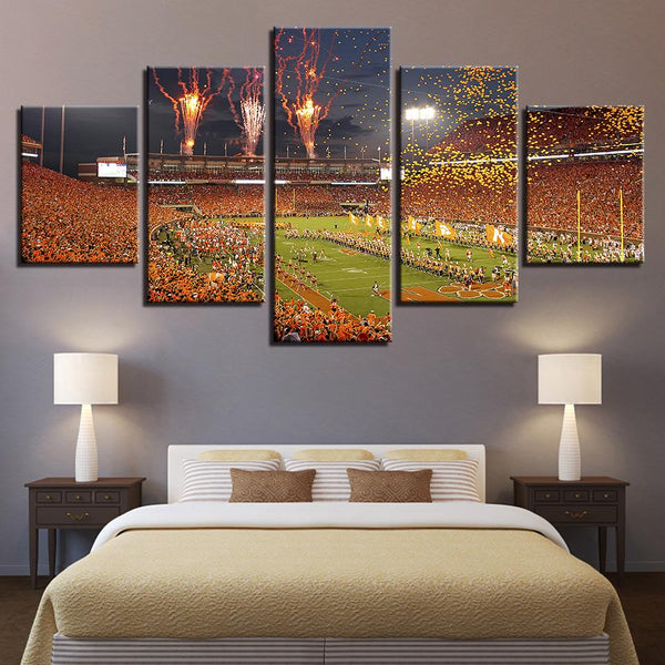 Five Piece Clemson Stadium Fireworks Painting