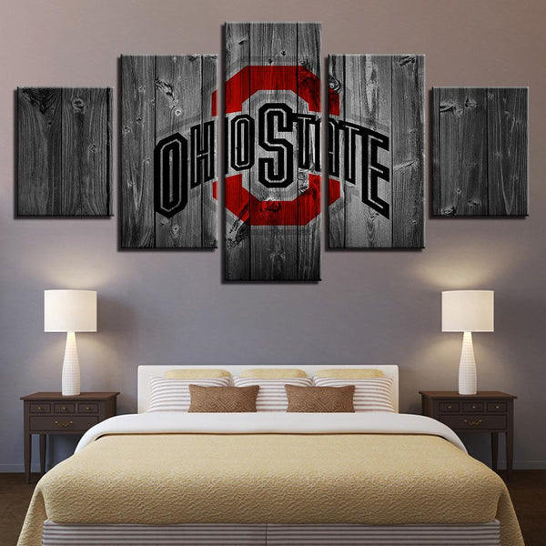 Five Piece Ohio State Wooden Logo Painting