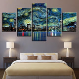 Five Piece Starry Night Painting