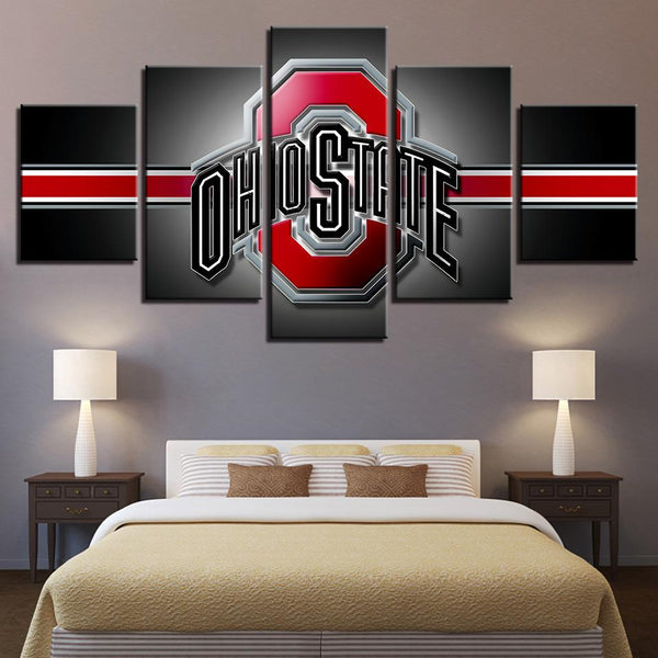 Five Piece Ohio State Logo Stripe Painting