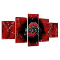 Five Piece Ohio State Lightning Painting