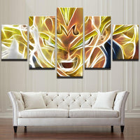 Five Piece Abstract Dragon Ball Z Super Painting