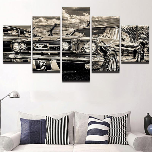 Five Piece Retro Cars Painting