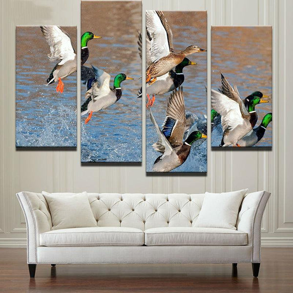 Four Piece Ducks on Water Painting