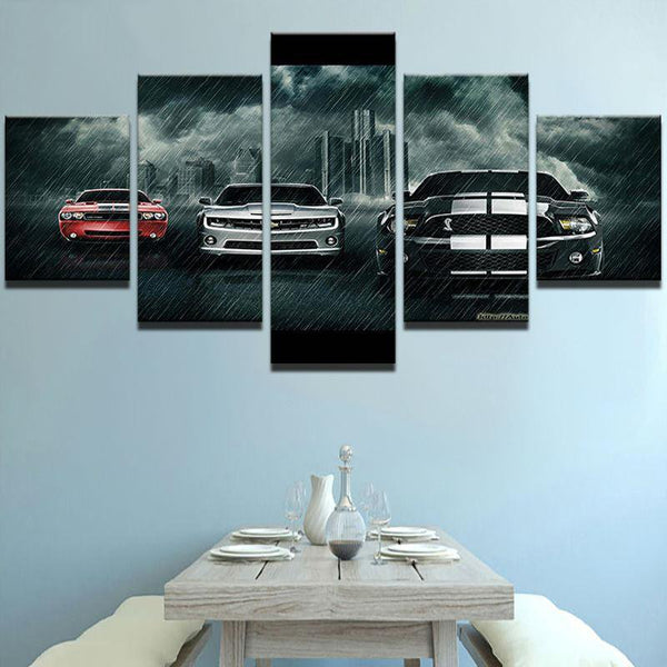 Five Piece American Car Painting